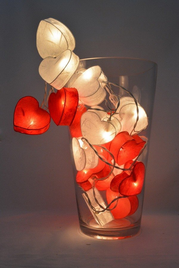 20 LED Battery Powered Red & White hearts valentine - Paper Lantern String Lights for Home Decoration Wedding Party Bedroom Patio and Decoration