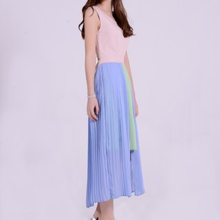 Pastel blue&green double layer asymmetric pleated dress