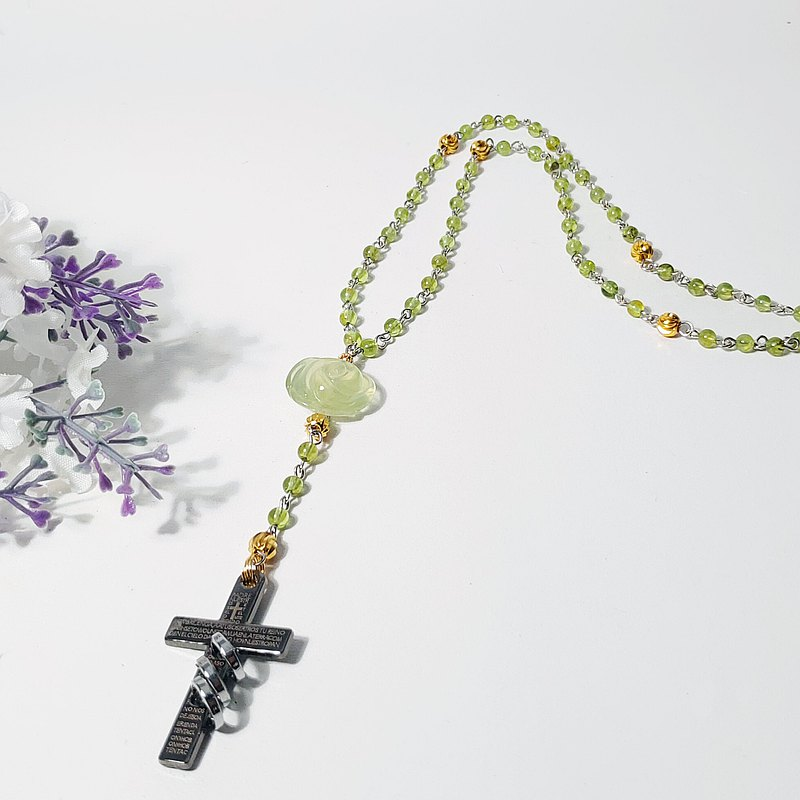 Natural Peridot Grape Stone Rose Rose Rosary God Sacred Cross Necklace Custom