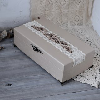 French romantic lace embossed three-dimensional nostalgic wooden box table storage wooden box