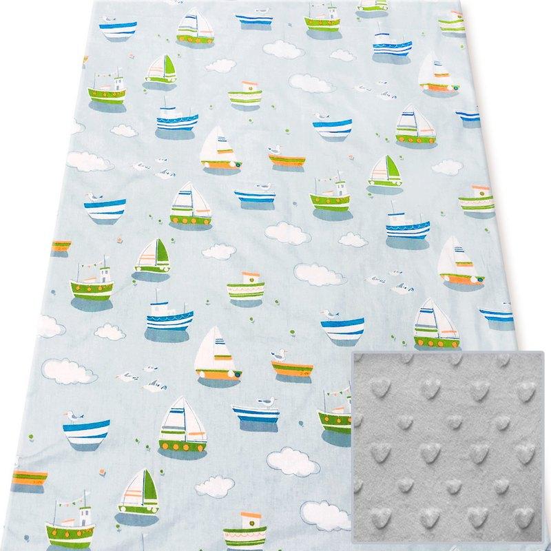 Minky多功能 點點顆粒 攜帶毯嬰兒毯冷氣毯被 灰色-帆船郵輪