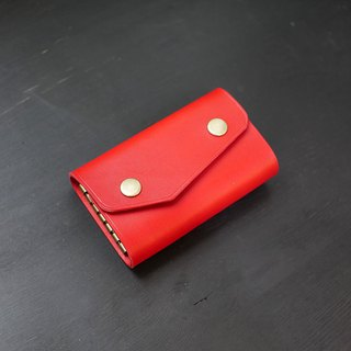[Christmas limited offer] six-hole key bag - chili red [Fulie District carved leather]