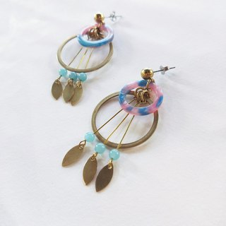 Booking order - Dream net earrings +14kgf bare stone necklace