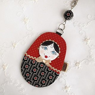 Matryoshka Pass Case Square Flower / red (MP-085)