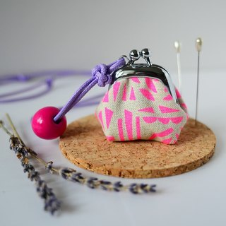 Tiny Frame Purse Necklace - Lavender Sachet - Length Adjustable, made from dutch prints - Neon Pink