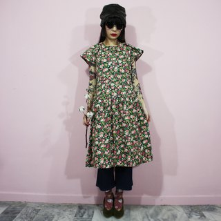 (Vintage dress) (Japanese-made) Black flower Japanese vintage dress F3237