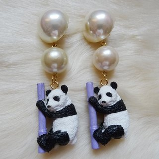 Panda earrings purple Harajuku kawaii Girly