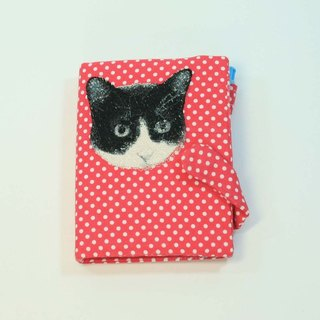 Embroidery tin loose-leaf notebook 03- black and white cat
