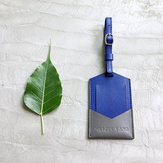 KAKU leather design luggage tag luggage tag sapphire blue + gray