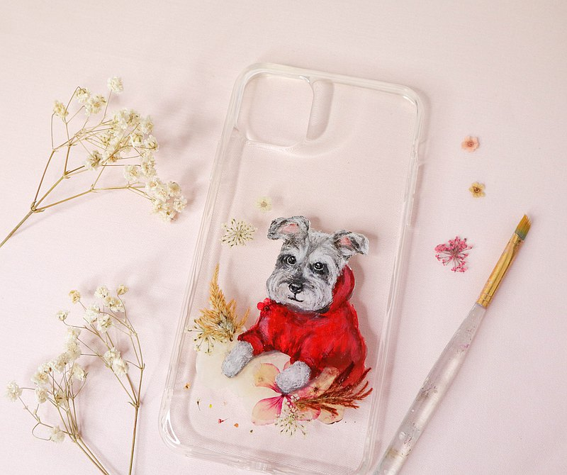 Tailor-made Hand-drawn Pet Pressed Flower Phone Case | Miniature Schnauzer / Dog