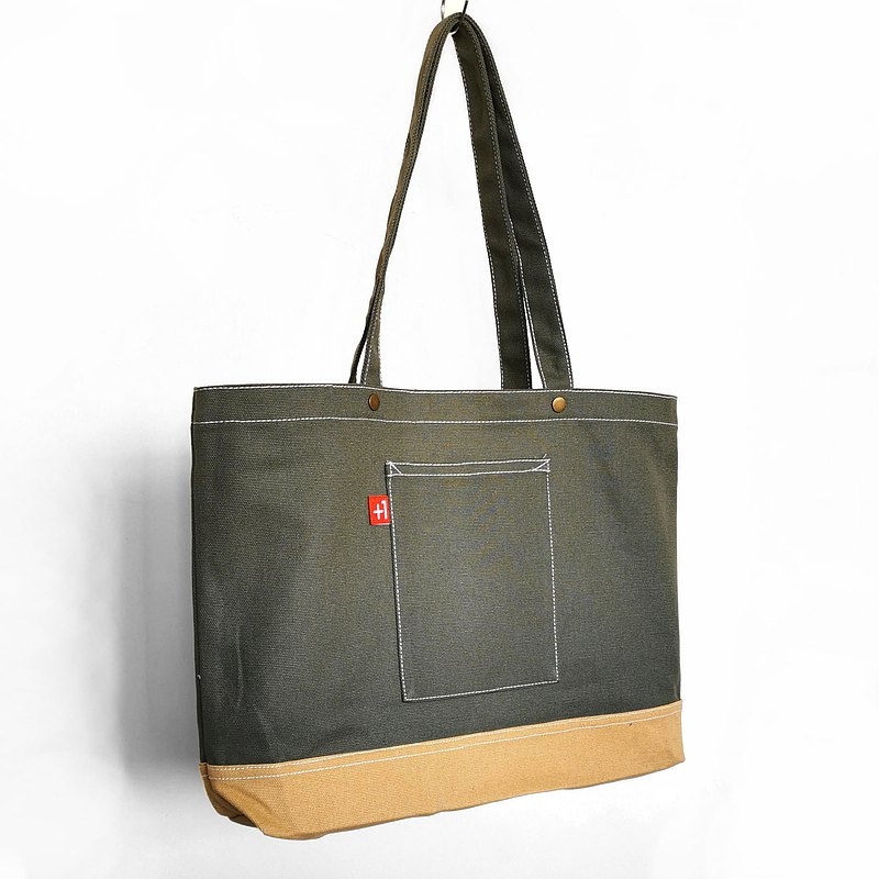 Army Green with Brown Canvas 3-Pocket Japanese Style Totebag