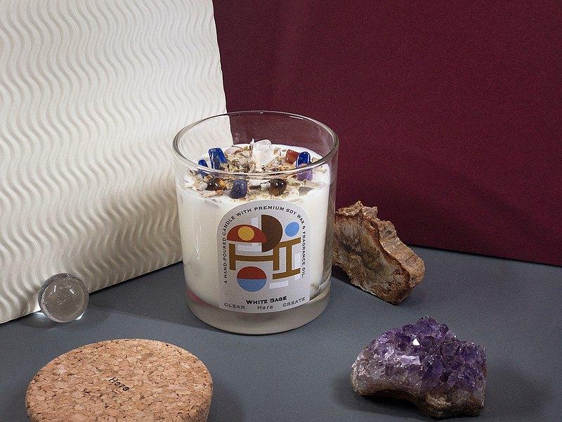 HERE 水晶花草能量香氛蠟燭145g 白鼠尾草