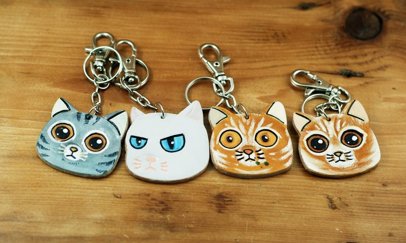 Leather carved cat key ring - Shop hao-handmade-leather - Keychains