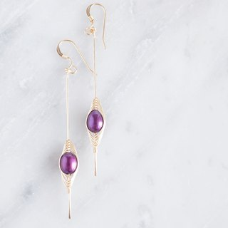 "【Tsubomi】 14KGF Earrings-B- ""Purple Pearl"