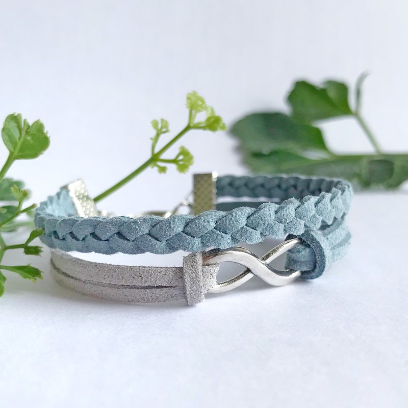 Handmade Double Braided Infinity Bracelets –grey blue limited