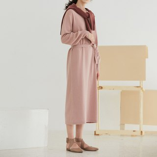 Gray pink autumn and winter wool V-neck knit dress four-color loose lantern sleeves long section lace dress super thin