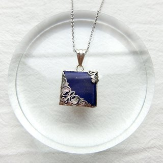 Lapis 925 sterling silver carved design necklace style 2
