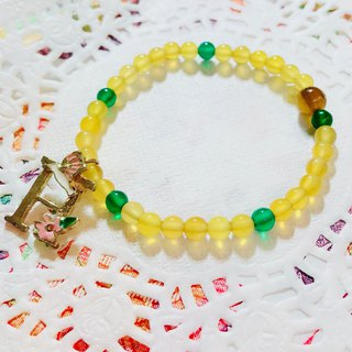 Exclusive alphabet yellow crystal bracelet