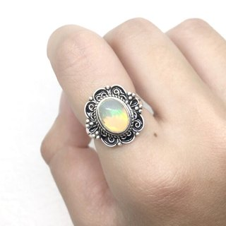 Opal Opel Classic Design Ring in Sterling Silver Nepal Handmade Mosaic
