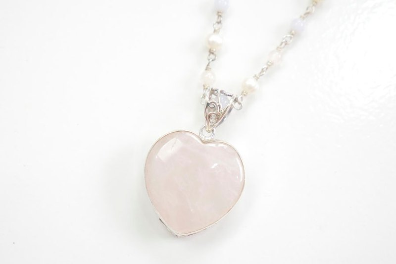 Natural stone long necklace of Heart of rose quartz