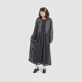 [Egg plant ancient] black 曜 water jade loose printed vintage dress