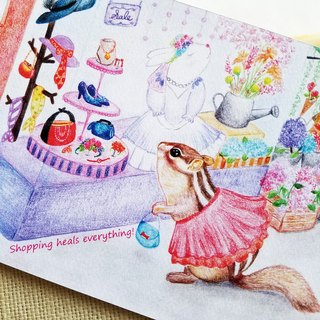 Postcard - Chipmunk love shopping
