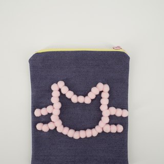 Denim Pouch with Pom Pom Cat in Pink