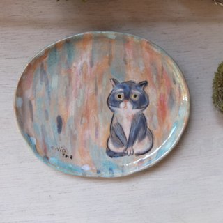 [Tao] Hand-painted Glazed Pottery Pan - Worried Kitten C Sitting