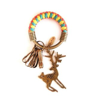 [Na UNA- excellent hand-made] key ring (small) 5.3CM bright red + yellow + orange + green + flower elk lake hand-woven wax rope hoop customization
