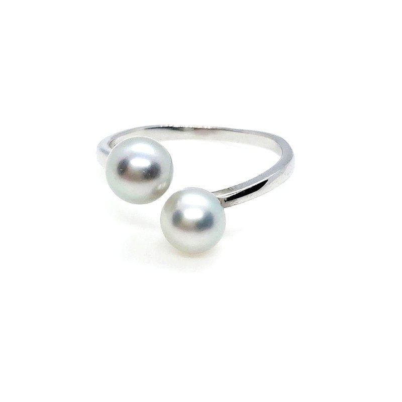 Sea water really much hemp double beads sterling silver ring