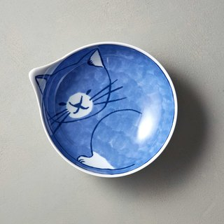石丸波佐见烧- neco cat big round bowl - white socks cat