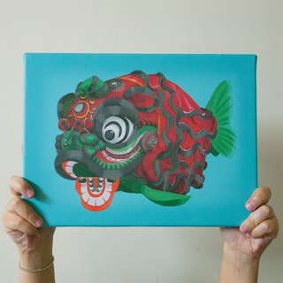 Guangdong lion gold fish lion dance fish board painting illustrator