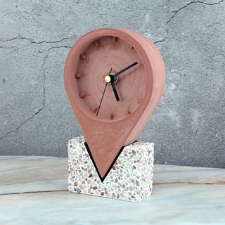 Landmark Clock - Cement Clock - Wenchuang Gifts - Handmade Creative - Red + Rose Red Meteorite Base
