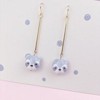 Small raccoon 18K long gold earrings hand painted hand clay