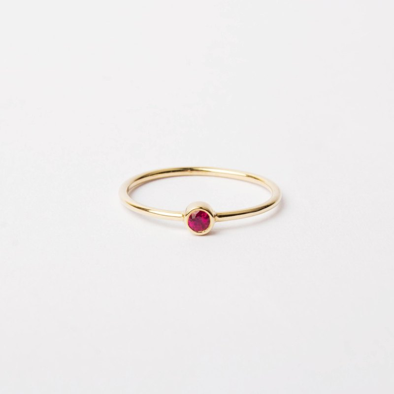Natural Ruby Bezel Set 14K Yellow Solid Gold Solo Ring | Stackable Layering