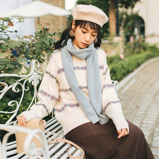 2018 autumn and winter ladies new color contrast horizontal striped long-sleeved sweater