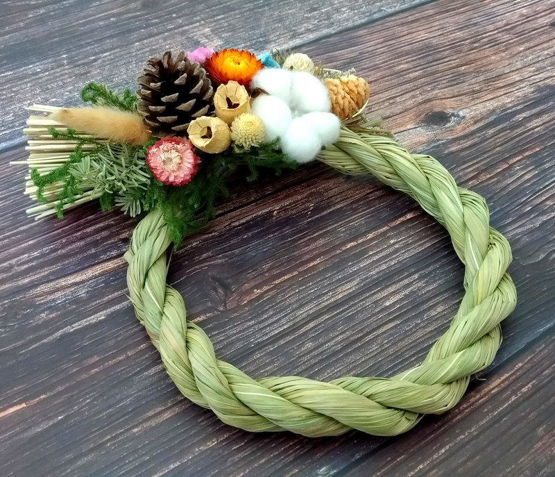Note wire dry wreath しめ縄 / New Year wishes Japan note rope dry flower Mother's Day