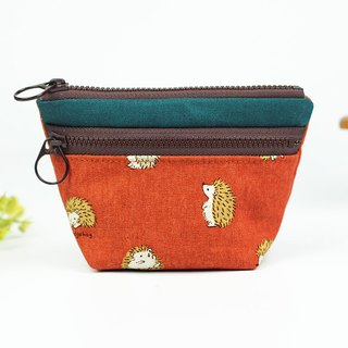 Maverick Village Coin Purse Double Small Storage Bag [Q Meng Hedgehog] Deep Orange BG-10