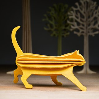 [Finnish] LOVI Le Yi three-dimensional puzzle birch postcard | ornaments | - Meng Meng cat (12cm)