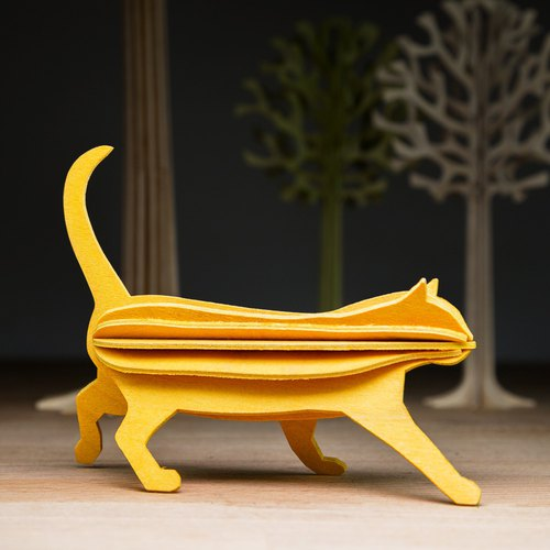 [Finland] LOVI Leyi 3D three-dimensional puzzle birch postcards | decorations | Gifts - Meng Meng cat (12cm)