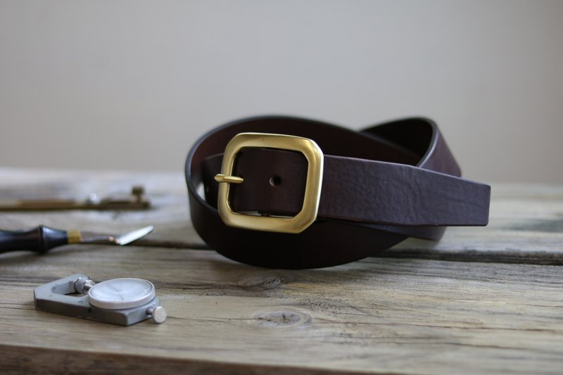 Handmade belt / 40mm / suitable for men and women / coffee / brass