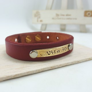 A10 - pure copper leather bracelet (magenta) - customizable typing - manual DIY