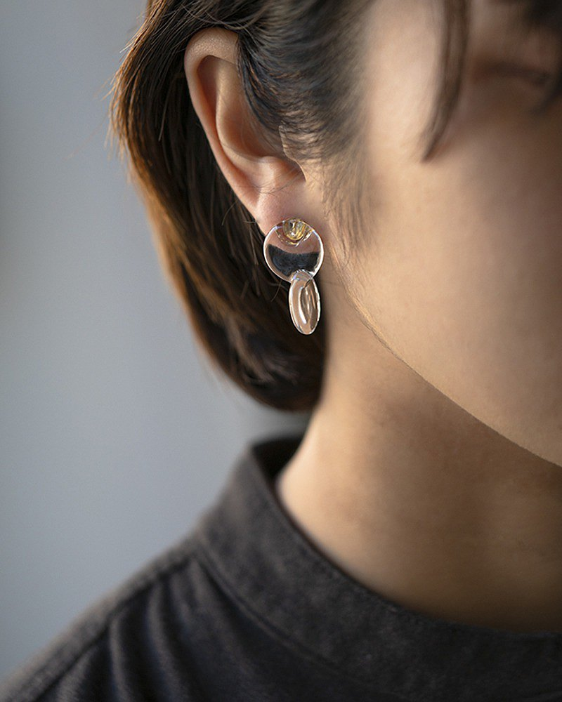 Hario handmade glass earrings x Birdswords special edition