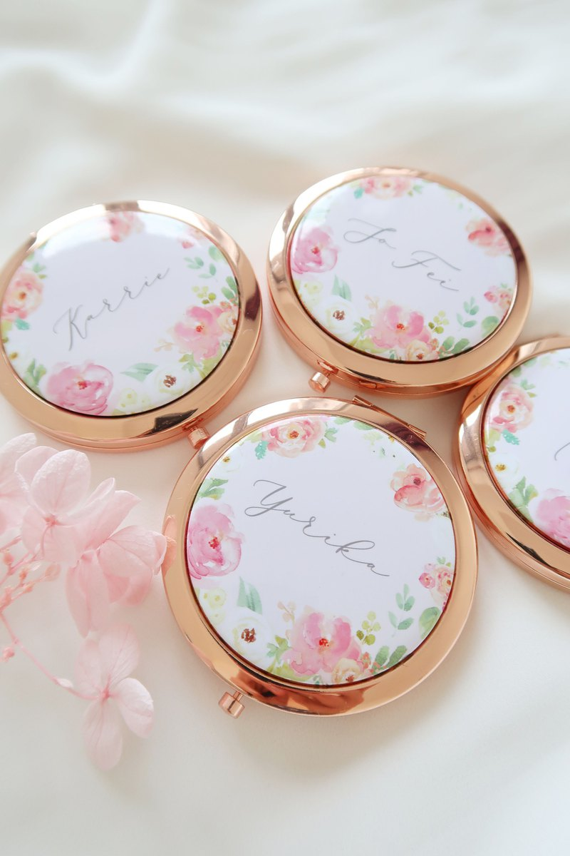 Personalized Rose gold Spring mirror compact - Bridesmaid gifts Wedding gifts