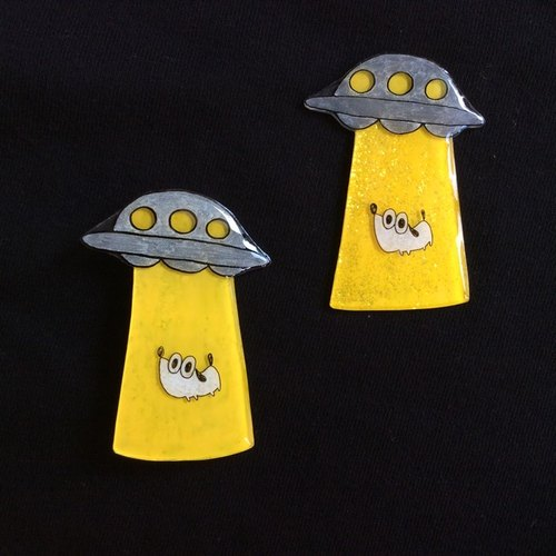 UFO abducted brooch