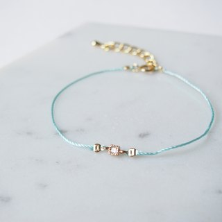 Sophisticated elegance · Handmade · Gold-plated square · Lucky rope · Bracelet · Sky blue