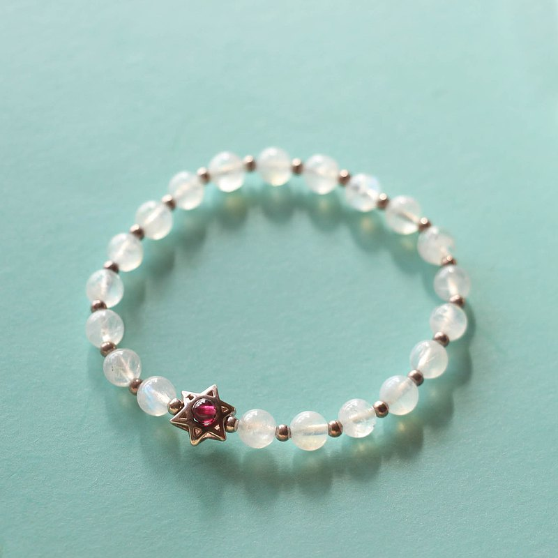 Natural Moonstone Bracelet Garnet Christmas Gift Girlfriend Gift Sterling Silver Crystal Power Stone