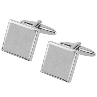 Laser Engraved Chevron Square Cufflinks