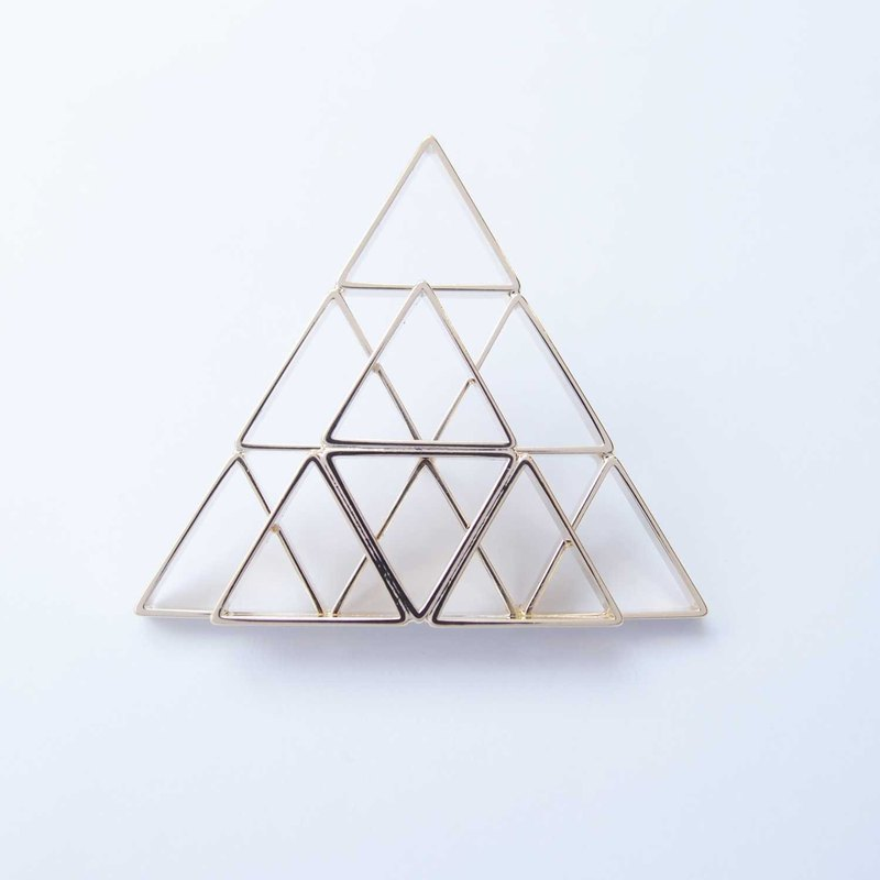 Louvre pyramid shaped brooch