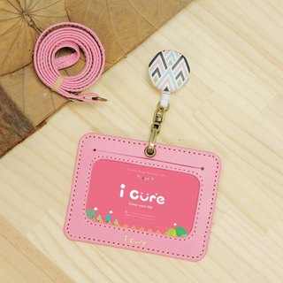 My life staff hand made leather ID card set pink feeling leather telescopic hand made card sets